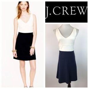 J.Crew Ivory Navy Sleeveless V Neck Dress